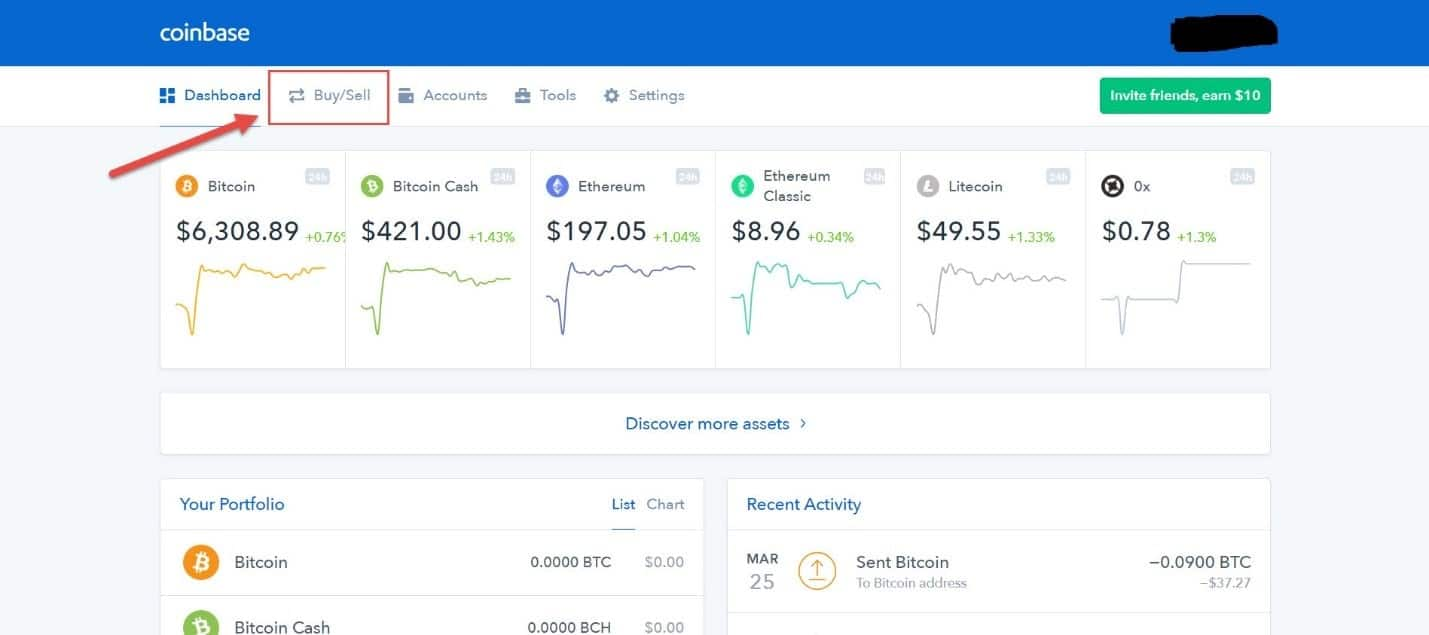 Coinbase main screen
