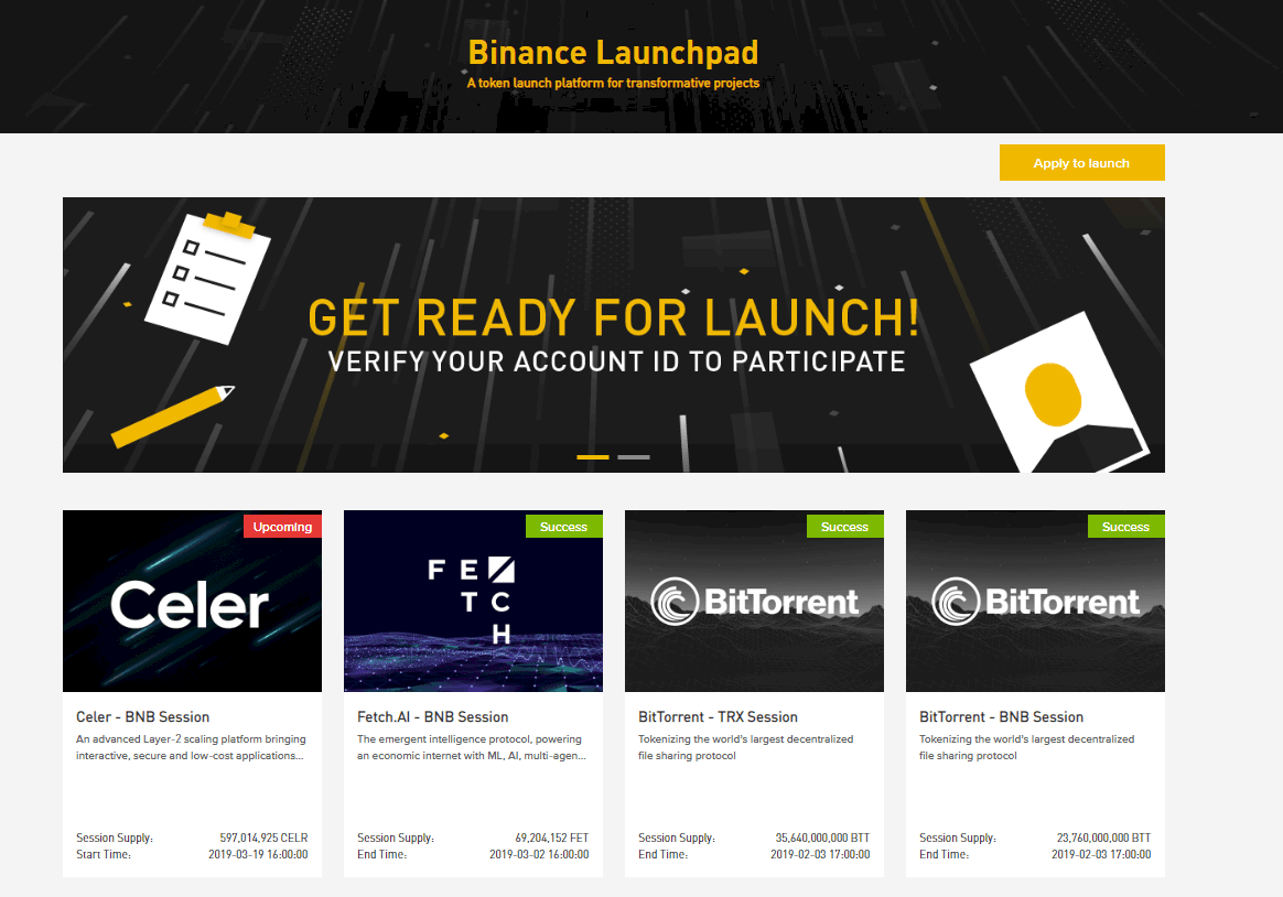 Binance Launchpad Home Screen