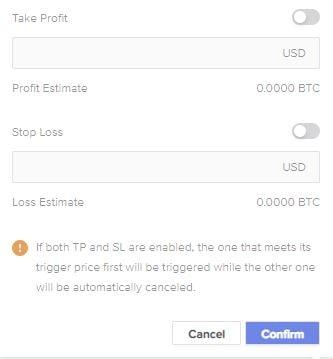 Stop Loss Take Profit Basefex