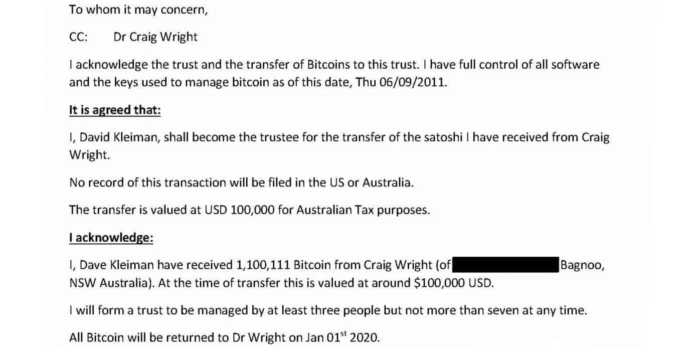 Alleged Tulip Trust Email