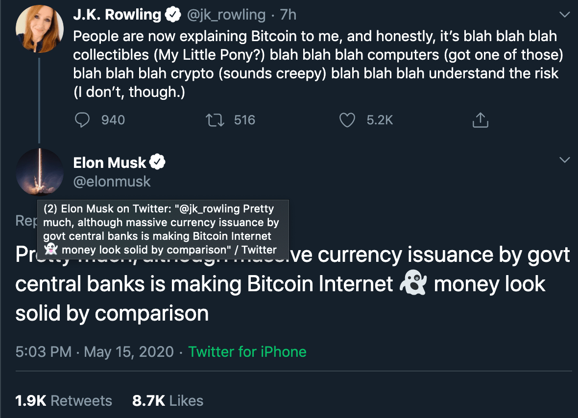elon musk answers j k rowling question bitcoin