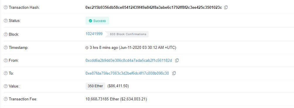 Ethereum Transaction. Source: Etherscan