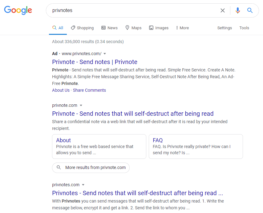 """PrivnoteS"" Google Search. Source: KrebsonSecurity"