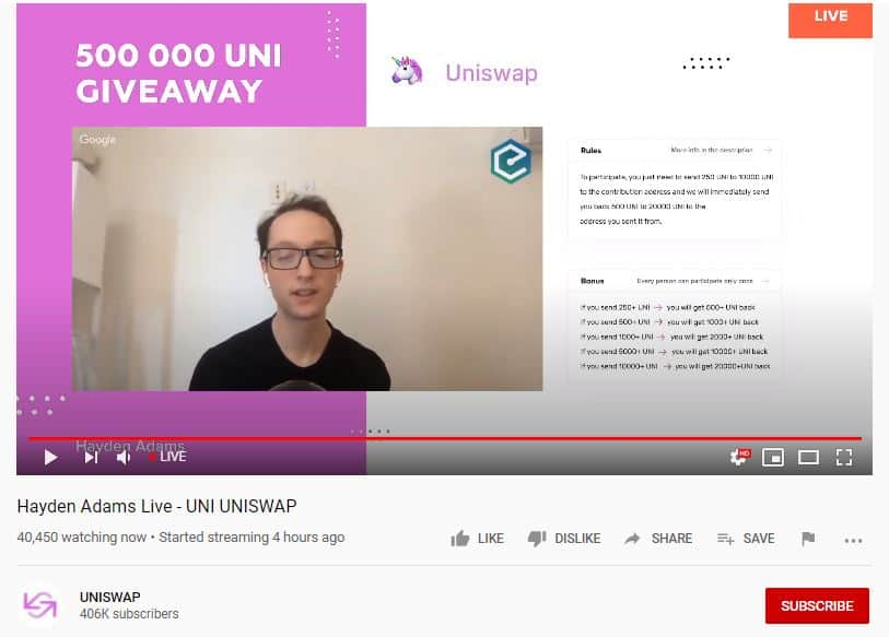 UNI Fake Giveaway. Source: YouTube