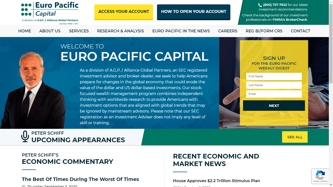 Peter Schiff appears at the main page of Euro Pacific Capital