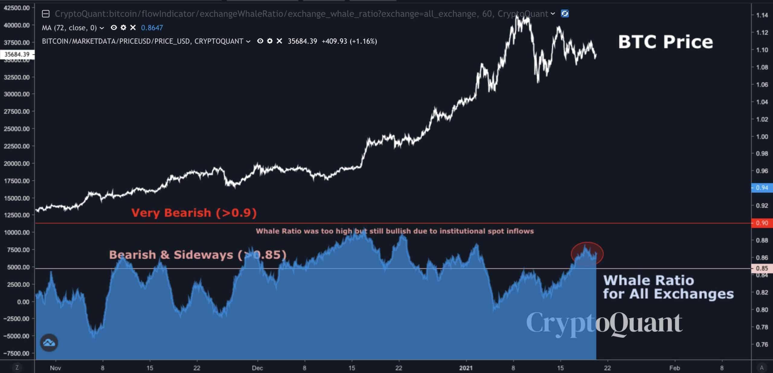 Bitcoin Price Vs. Whales' Behavior. Source: CryptoQuant