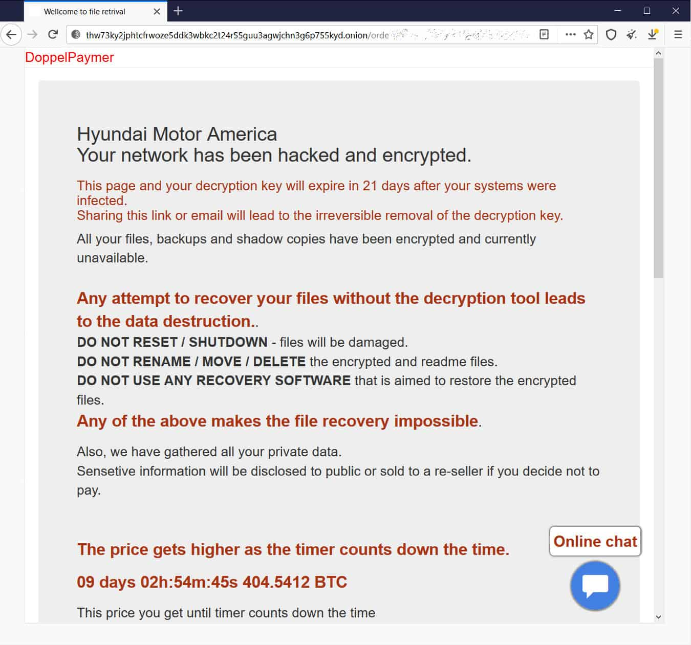 Ransomware Note To KMA. Source: BleepingComputer