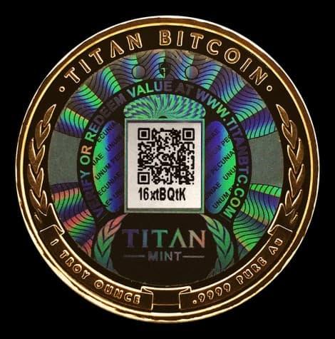 A Physical Bitcoin sold by Titan Bitcoins. Image Titan Bitcoins