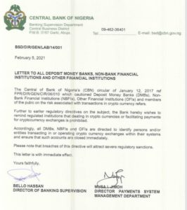 letter from the central bank of nigeria