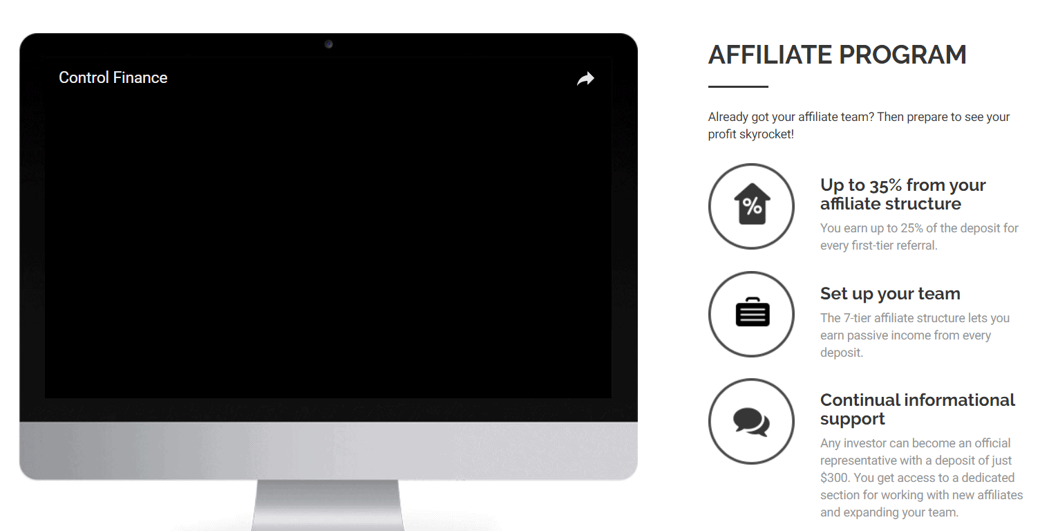 Explanation of Control-finance's affiliate program already made it look like a Bitcoin scam