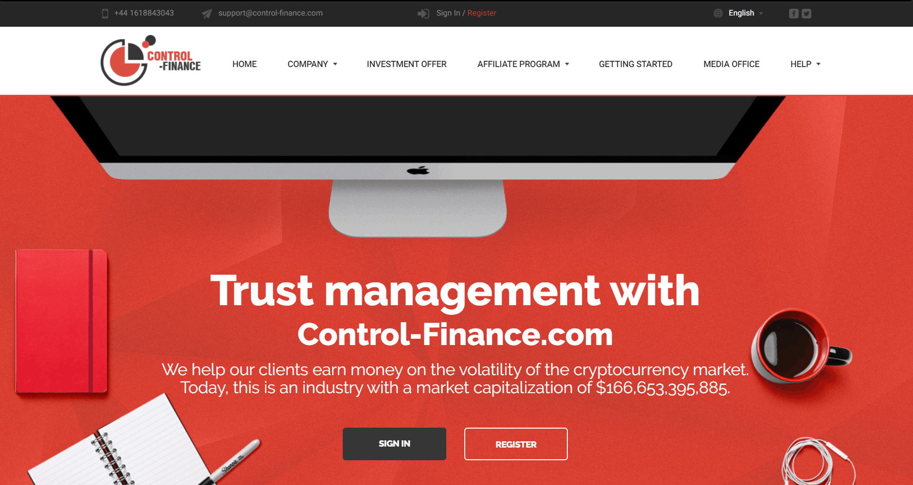Screenshot of the Control-Finace Bitcoin Scam website. Image: Web Archive