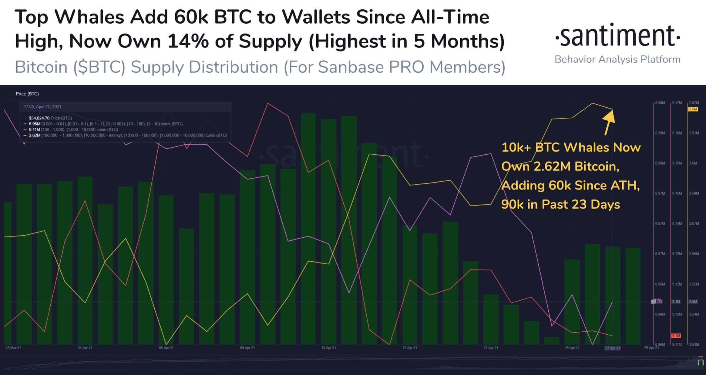 Bitcoin Price vs. Bitcoin Whales' Behavior. Source: Santiment