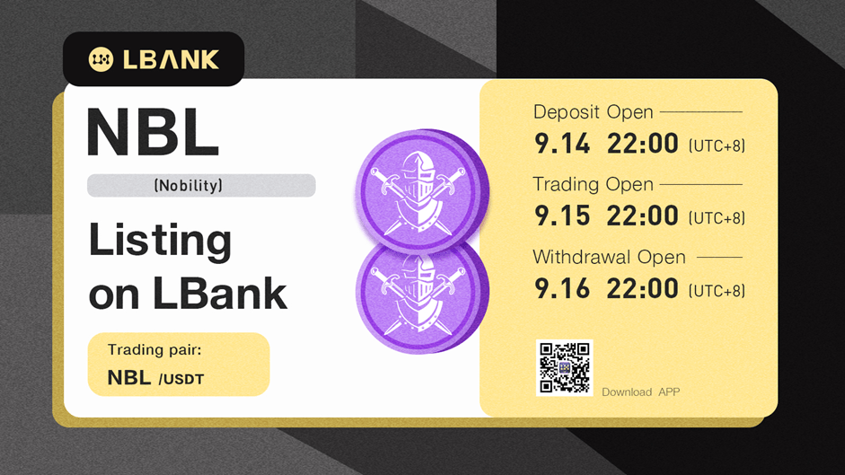 LBank Exchange Will List NBL (Nobility) on September 15, 2021