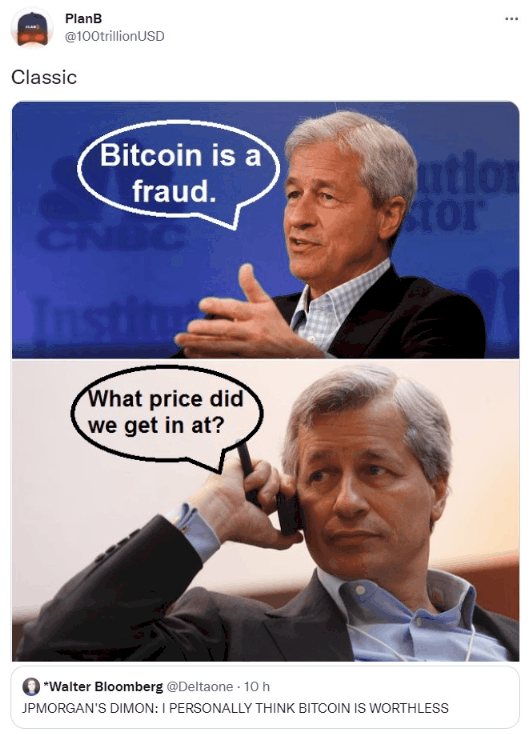 meme about Jamie Dimon saying that Bitcoin is a fraud and then asking what its price was