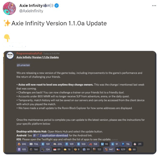 Tweet from Axie Infinity showing the most important changes that will take place with the update v1.1.0a