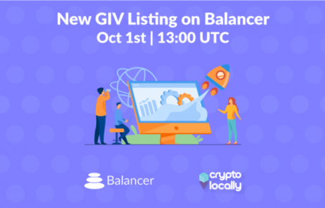 CryptoLocally's GIV will be listed on Balancer on Oct 1